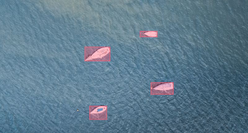 annotated boats in the sea